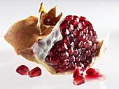 A pomegranate, broken open