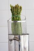 A bundle of green asparagus in an asparagus pan