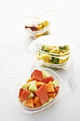 Mixed fruit salads in plastic containers