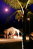 Moroccan tent for romantic dinner on beach