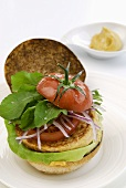 Hamburger with millet burger and tomato