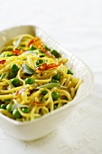 Taglierini with peas, bacon and sage