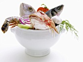 Fish and shellfish in a soup tureen