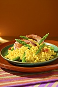 Asparagus risotto with prawns