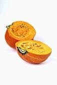 A halved Hokkaido pumpkin