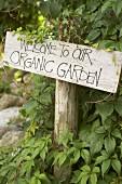 Sign at entrance to garden