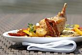 Braised rabbit leg with Mediterranean vegetables