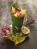 Caribbean fruit salad wrapped in a banana leaf