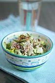 Salad with crabmeat, celery and spring onions
