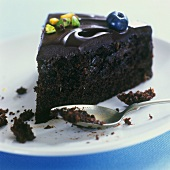 A piece of chocolate cake with chocolate icing