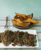 Steaks with shallot sauce and butternut squash