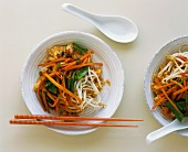 Fried rice with carrots, mangetout, bean sprouts