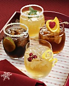 Four drinks: Whisky & Ginger, Whisky Sour, Rum, Rob Roy