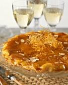 Tarte Tatin with almonds and caramel lattice