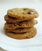 Five chocolate chip cookies, stacked