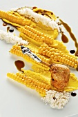 Corn-fed chicken on corn with balsamic vinegar & pumpkin seed oil