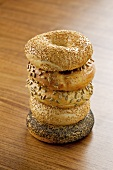 Tower of five bagels