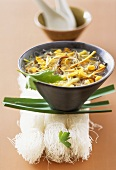Glass noodle soup with sweetcorn and shiitake mushrooms