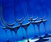 Empty Wine Glasses with Blue Background