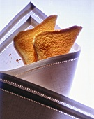 Two Toast Triangles Wrapped in a Cloth Napkin