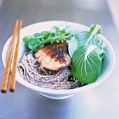 Grilled Sesame Pork Over Udon Noodles