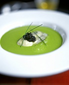 Cress Soup with Oyster and Caviar