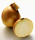 A Whole and Half Yellow Onion