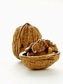 An Opened and a Whole Walnut