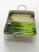 Green and White Asparagus in a Roasting Pan