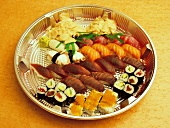 Assorted Sushi on a Round Platter