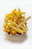 Crinkle Cut French Fries in a Carton with Wooden Fork
