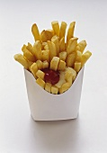 French Fries in White Fast Food Box with Mayonnaise and Ketchup