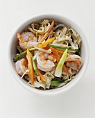 Shrimp and Vegetable Stir Fry Over Noodles