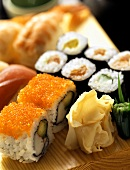 Assorted Sushi on a Wooden Board
