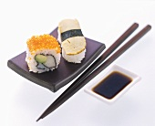 Sushi Plate with Chopsticks and Dipping Sauce