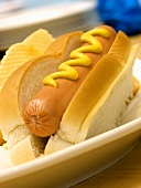 A Hot Dog in a Bun with Mustard on a Plate