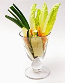 Sliced Vegetables in a Goblet for Dipping