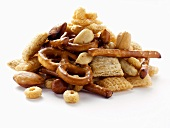 Snack Mix with Pretzels, Peanuts and Cereal