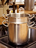 Double Stock Pot on Kitchen Counter