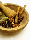 Assorted Dried Spices in a Mortar with Pestle