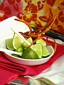 Dish of Limes with Red Pepper on Top