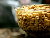 Chex Mix in a Glass Bowl