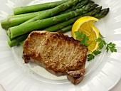Boneless Pork Chop with Asparagus