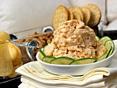 Shrimp Dip with Sliced Cucumbers in a Bowl