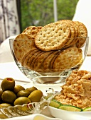 Shrimp Dip with Crackers and Olives
