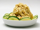 Shrimp Dip in a Dish with Sliced Cucumbers