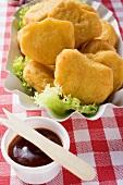 Fish nuggets with ketchup