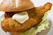 Fish burger with mayonnaise