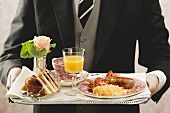 English breakfast on tray