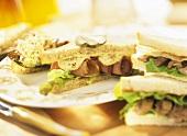Roast beef sandwich and steak sandwich